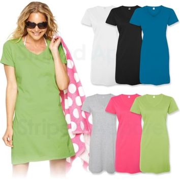 Ladies Fine Jersey V-Neck Coverup S-3XL Womens Beach Dress Nightshirt LAT 3522