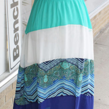 New! Piper Strapless Blue Colorblock Maxi - Hey Ocean