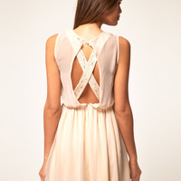 DAN Skater Dress With Lace Cross Back