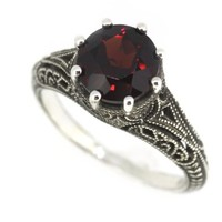 Antique Finish Filigree Sterling Silver Round Cut Natural Mozambique Garnet Ring (2.5 CT.T.W):Amazon:Jewelry