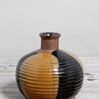 Vintage Black + Tan Pottery Vase - Urban Outfitters