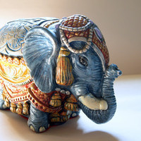 Exotic VINTAGE INDIA ELEPHANT Statue Mid Century Chalkware Elephant Figurine in Traditional Ornate Costume
