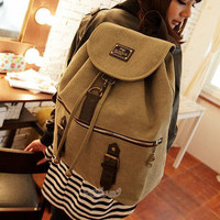 YESSTYLE: PG Beauty- Canvas Drawstring Backpack (Khaki - One Size) - Free International Shipping on orders over $150