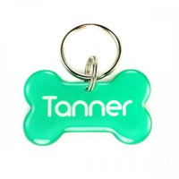 Double Sided Bright Green Dog Bone Pet ID Tag | metamorphdesigns - Pets on ArtFire