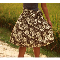 ON SALE Brown Floral Midi Skirt with sash belt