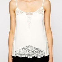 Whistles Amos Tank with Lace Insert