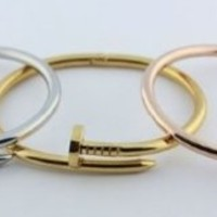 Silver or Gold Nail Design Twisted Womens Bangle Bracelet with Clasp Designer Inspired