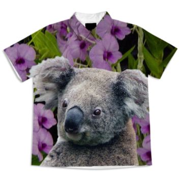 Koala and Cooktown Orchids Short Sleeve Blouse created by ErikaKaisersot | Print All Over Me