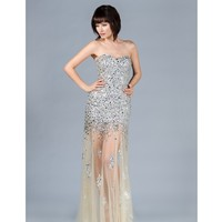 2013 Prom Dresses - Champagne Strapless Sequin Prom Dress | Unique Prom