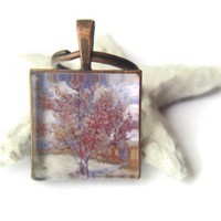 Peach tree blossom art painting landscape copper glass tile keychain