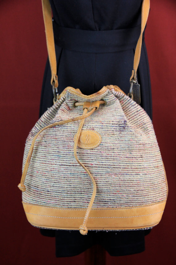 1970s Vintage Mary Ann Rosenfeld Woven Shoulder Bag // Drawstring / Crossbody