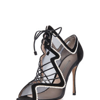 Suede & Net Lace Up Heels in Black & White