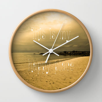 Happy Place Wall Clock by Alice Gosling | Society6