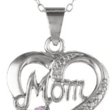 """Sterling Silver Diamond-Accent Birthstone Collection Mom Heart Pendant Necklace, 18"""":Amazon:Jewelry"""