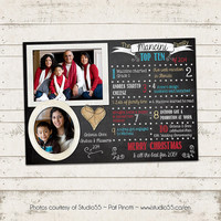 Christmas Photo Card - Year in Review - Top 10 for 2014 -  2 Photo layout - Merry Christmas, Retro, Chalkboard - Custom & Personalized