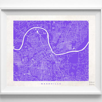 Nashville, Tennessee, Map, State, Print, Nursery, Poster, Wall Decor, Town, Illustration, Pretty, Room, Art, Cute, World, Street [NO 512]