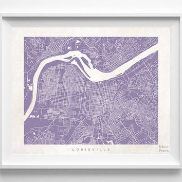 Louisville, Kentucky, Street Map, Nursery, Poster, Wall Decor, Town, Illustration, Pretty, Room, Art, Cute, World, State, Print  [NO 505]