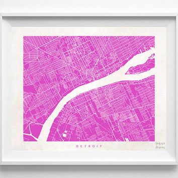 Detroit, Michigan, Print, Nursery, Poster, Wall Decor, Art, Cute, Pretty, Living Room, Street Map, World, State, Town, Illustration [NO 492]