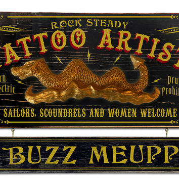 Vintage Tattoo Artist Plaque with Custom Hanging Name Plank