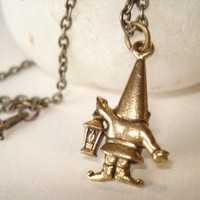 Little Antiqued Gold Gnome Necklace by RhondasTreasures on Etsy