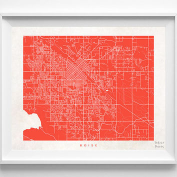 Boise, Idaho, Street Map, Print, World, State, Town, Nursery, Art, Bedroom, Living Room, Poster, Wall Decor, Illustration [NO 482]