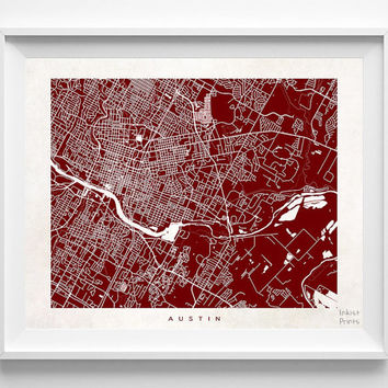 Austin, Texas, Street Map, Print, Colorful, Nursery, City, Art, Bedroom, State, Town, Living Room, Poster, Wall Decor, Illustration [NO 479]