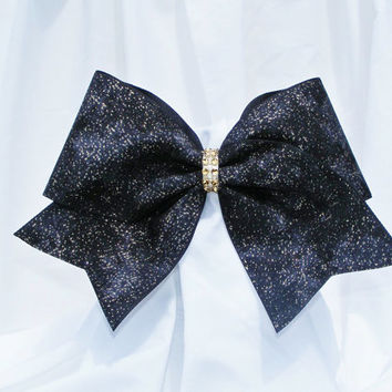 Cheer bow - Black with gold glitter and rhinestone center. cheerleader bow - dance bow -cheerleading bow