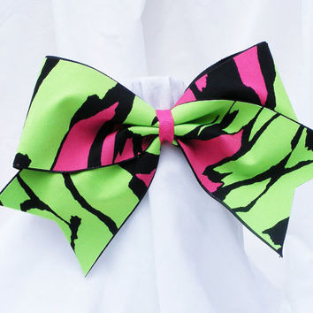 Cheer bow - Neon green and pink with black. cheerleader bow- dance bow -cheerleading bow