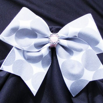 Cheer bow- Gray polka dot and pink center with  round sparkle center.  cheerleader bow - dance bow -cheerleading bow