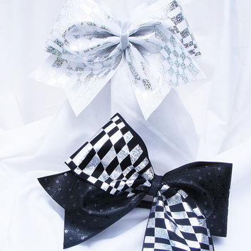 Cheer bow - in white or black  with sliver metallic squares holographic and sequins fabric. cheerleader bow - dance bow -cheerleading bow
