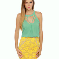 Pretty Mint Green Top - Halter Top - Sleeveless Top - $32.00