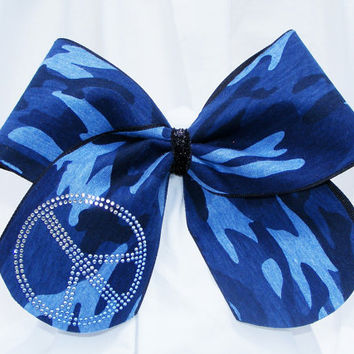 Cheer bow - Blue camo with rhinestone peace sign. cheerleader bow - dance bow -cheerleading bow