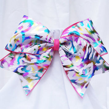 Cheer bow -  White or black multi colored cheetah print holographic fabric. cheerleader bow - dance bow -cheerleading bow
