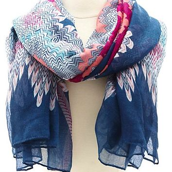 Abstract Chevron Print Scarf
