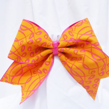 Cheer bow - Neon orange and pink pattern. cheerleader bow - dance bow -cheerleading bow