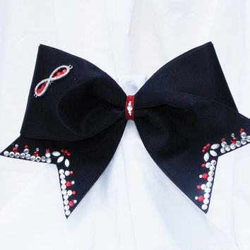 Cheer bow - Pick your own colors Infinity bow hand set rhinestones. black with red and clear. cheerleader bow -dance bow -cheerleading bow