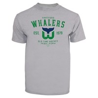 Hartford Whalers Old Time Hockey Arch Logo T-Shirt – Gray
