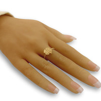 Gold ring - four leaf ring gifts for women, gift for her, everyday ring, dainty ring