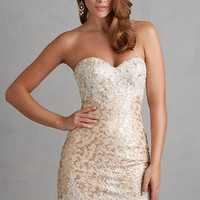Short Strapless Sequin Homecoming Dress by Night Moves