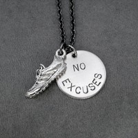 RUN with NO EXCUSES - Pewter Running Shoe and Nickel pendant priced with Gunmetal chain