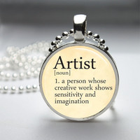 Round Glass Bezel Pendant Artist Pendant Dictionary Definition Necklace With Silver Ball Chain (A3616)