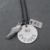 RUN XC with NO EXCUSES - Pewter Running Shoe and Nickel pendants priced with Gunmetal chain