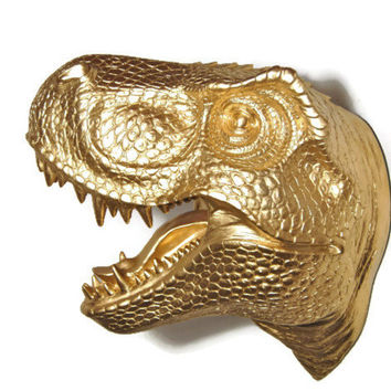 Gold T-Rex Dinosaur Head Wall Mount  Dinosaur Faux Taxidermy TX08