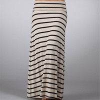Black/Tan Striped Maxi Skirt