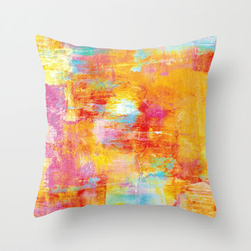 OFF THE GRID Colorful Pastel Neon Abstract Watercolor Acrylic Textural Art Painting Nature Rainbow  Throw Pillow by EbiEmporium