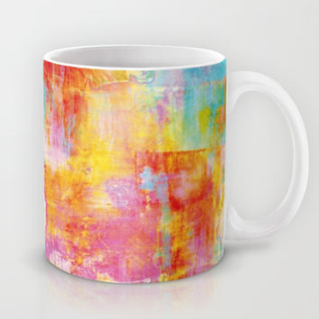 OFF THE GRID Colorful Pastel Neon Abstract Watercolor Acrylic Textural Art Painting Nature Rainbow  Mug by EbiEmporium