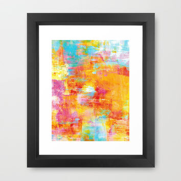 OFF THE GRID Colorful Pastel Neon Abstract Watercolor Acrylic Textural Art Painting Nature Rainbow  Framed Art Print by EbiEmporium