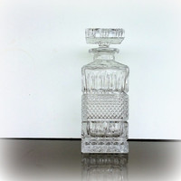 MID CENTURY BARWARE -  Vintage Liquor Decanter - Beautiful Lead Crystal - Scotch Whiskey Bottle & Stopper - Bar Cart Accessories