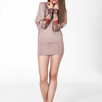 Beige Tunic with Roses&Flowers Temporary Tattoo Mesh Sleeves