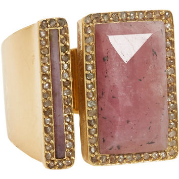 Red-Brown Sapphire, Champagne Diamond & Gold Ring